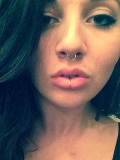 Lower Lip Piercing – Charmed by Labret Piercing Labret Ring, Labret Jewelry, Nostril Ring, Septum Ring, Lip Piercing Ring, Lip Jewelry, Jewlery, Piercing Tattoo, Navel Piercing