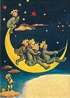 Um passeio na noite, ilustração de Martta Wendelin.  - Tarot Cards, Martini, Fairy Tales, Moon, Illustration, Vintage, Painting, Sidewalk, Night