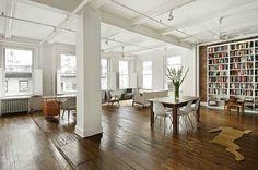 Loft on 129 West Street, Chelsea, New York Loft Design, Apartment Interior Design, Interior Decorating, House Design, Apartment Layout, Apartment Ideas, Decorating Ideas, Estilo Soho, Warehouse Apartment