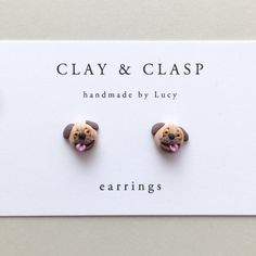 Pug earrings  beautiful handmade polymer clay by ClayandClasp
