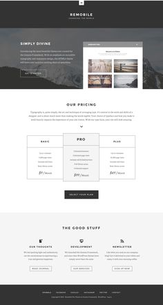 Remobile Pro is a responsive WordPress business theme from StudioPress developer club. It is a child theme that comes with plenty of features to décor Cool Themes, Landing Page Design, Corporate Business, Premium Wordpress Themes, Business Website, Web Design, Typography, Professional Services, Free Reading