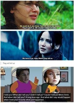 this is funny and all but I'm really fangirling about the line from catching fire. Hunger Games Humor, Hunger Games Fandom, Hunger Games Catching Fire, Hunger Games Trilogy, Team Gale, I Volunteer As Tribute, Jenifer Lawrence, Interview, Katniss Everdeen