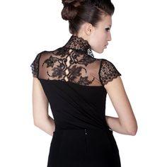 Body Blouse With Lace V Black | AREFEVA