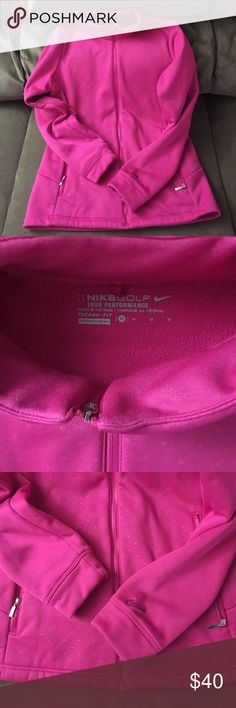Nike Golf Therma Fit Jacket Size Medium Excellent condition. No flaws. Fits true to size. These are super cute and warm . Cute polka dot detail. Color is true to pic. Great deal on high quality jacket. Lowest offer is the price listed. No trades or Mercari. Can be worn not playing golf 😁. Price firm unless bundled Nike Tops Sweatshirts & Hoodies