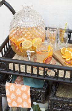 The Best Springtime White Sangria Recipe + Outdoor Bar Cart Style - Discover, A World Market Blog. #DiscoverWorldMarket