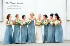 Wente Restaurant and Winery wedding- Dusty blue bridal party
