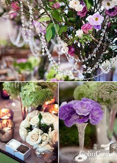 Guests entered the reception tent and were immediately transported into a fairytale. Flowering trees, dripping in crystal, seemed to sprout up from tables and rustic chandeliers hung from overhead. Take a look at every magical detail here: http://www.colincowieweddings.com/the-galleries/weddings-by-colin-cowie/charmed-country-glam-wedding