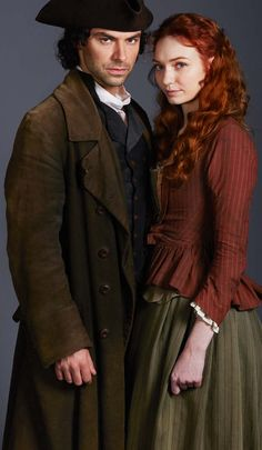 Aidan Turner as Ross Poldark and Eleanor Tomlinson as Demelza in 'Poldark' (2015-)