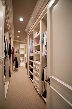 master closet ideas; going down a hall way into its own room  that's the real MVP