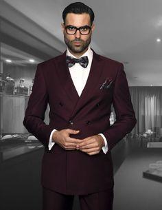 Men's 2 Pc DB Fashion Suit by STATEMENT - Burgundy