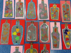 Kuvis ja askartelu - www.opeope.fi. Ystävänpäivän pullopostia! Sydämet väritettiin sabluunan avulla.