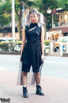 Twin-Tailed Harajuku Girl in Gothic Fashion w/ Sleeveless Top, Sheer Skirt, Fishnets & Boots | TokyoFashion.com