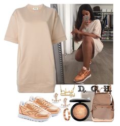"""Copper."" by dopegenhope ❤ liked on Polyvore featuring mode, Reebok, Acne Studios, Case-Mate, DKNY, Kismet by Milka, MAC Cosmetics en Cartier"