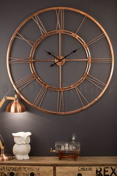 Copper Bertha 101cm Wall Clock - Industrial Clocks