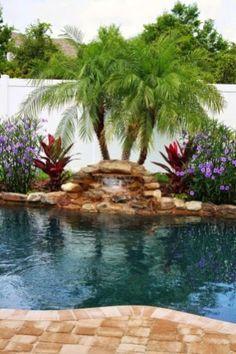 ✔️ Fun Backyard Landscaping Idea How About An Exotic, Tropical Backyard Resort 36 Landscaping Around Pool, Tropical Pool Landscaping, Swimming Pools Backyard, Landscaping With Rocks, Backyard Landscaping, Landscaping Ideas, Fun Backyard, Planters Around Pool, Waterfall Landscaping
