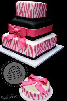 Hot Pink and Black Zebra Birthday Cake Ideas for Danielles pink
