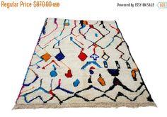 25% 10'X7' ft / Handmade Moroccan rug Beni Ourain 100 Percent Wool / Azilal Rug / Boucherouite Rug / Beni Ouarain / Moroccan Kilim