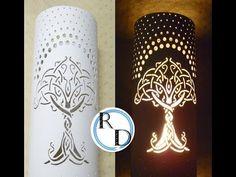 Cómo pintar una lámpara de PVC - YouTube Pvc Pipe Crafts, Pvc Pipe Projects, Dremel Projects, Home Decor Lights, Wooden Lamp, Pipe Lamp, Pipe Furniture, Contemporary Ceramics, Mandala Design