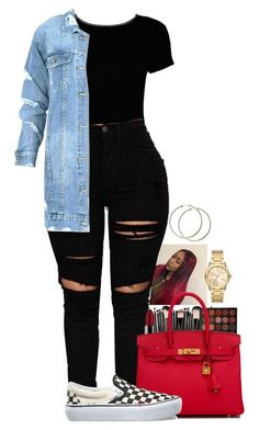 """A. B."" by basnightshine1015 ❤ liked on Polyvore featuring Boohoo, NYX, Morphe, Hermès, Vans and Michael Kors"