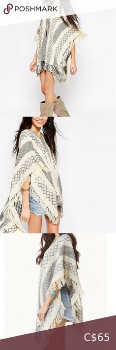 Hooded Poncho, Poncho Sweater, Studded Shorts, Henley Top, Plus Fashion, Fashion Tips, Fashion Trends, Tassel, Free People