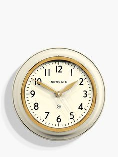 Newgate Clocks Cookhouse Wall Clock, Linen White at John Lewis & Partners Fool Gold, Metallic Paint, Lens, John Lewis, Clocks, Wall, Kitchen, Cooking, Cucina