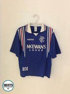e1ed913de68 GLASGOW RANGERS 1996/97 Away Football Shirt (S) Soccer Jersey ADIDAS Vintage  #