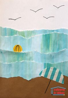 On est encore en hiver mais nous avons des envies de mer, de vagues et de sable chaud... Pas vous? Alors pour faire venir la mer chez nous, on a décidé de la peindre et de faire de l'art sur ce thème. Un peu de peinture, du déchirage (ça se dit?) et du collage pour des vagues plus vraies que nature, très réalistes ;) Matériel nécessaire pour des vagues et une plage Normalement, vous devriez avoir tout sous la main puisqu'il faut :  deux feuilles blanches à dessin du papier kraft ou ...
