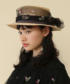 Honey Salon by foppish(ハニーサロンバイフォピッシュ)の「フラワーチュールカンカン帽(ハット)」|ブラック