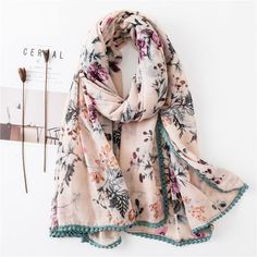 Costbuys Pink Scarf Hijab Lace Binding Flower Print Long Shawls Joven Beautiful Elegant Autumn Scarves For Women Pink Scarves, Fall Scarves, Beautiful Hijab, Long Scarf, Fashion Prints, Style Fashion, Scarf Styles, Printed Shorts, Flower Prints