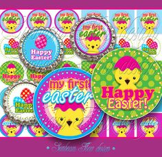 Sale 50 off 1 Circles & Squares on 4x6 sheet $2.20  Happy Easter!  Supplies Scrapbooking Digital Collage Sheet fun handmade supply magnets pendats inch pink girlish holiday little chicks images boyish easter eggs playful green yellow 1st my first easter egg cupcake toppers hairbows bottlecaps printable gift tags cute kids polka dots jewelry graphics boy girly blue hairbows