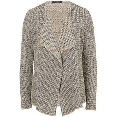 Betty Barclay Ribbon Knit Cardigan, Grey / Beige