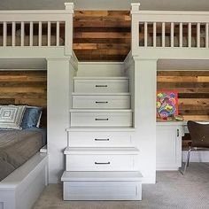 Built In Desk with Plank Walls Under Loft Bed