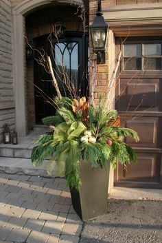 christmas planter - Curly willow, red osier branches, Holly, evergreen, Fabric ribbon bow