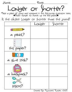 Pin 3 Hands on Measurement - 3 Activity Worksheets - Length, Wei Measurement Kindergarten, Kindergarten Anchor Charts, Measurement Activities, Math Measurement, Kindergarten Math Activities, Preschool Math, Fun Math, Math Resources, Teaching Math