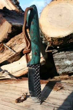 Knife made from rasp with turquoise handle