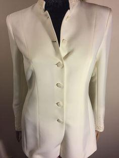 Kasper Womens Beaded White Blazer/jacket. Size 4. #Kasper #Blazer