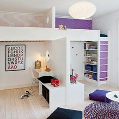 Kids Bed Rooms: Cool and Efficient Ideas of Decorating Shared Bedroom for Children. Cool Kids Shared Bedrooms Design with Loft Beds. Bunk Beds With Stairs, Kids Bunk Beds, Boy And Girl Shared Room, Girl Room, Bedroom Loft, Girls Bedroom, Bedroom Ideas, Bed Ideas, Mezzanine Bedroom