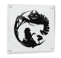 Alice in Wonderland // Cheshire Cat - hand cut paper art // fantasy storybook disney wall artwork silhouette paper illustration