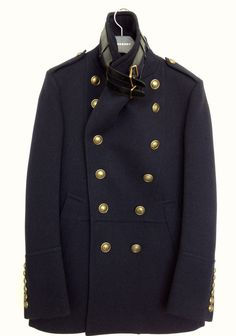 Military Coats, Navy Pea Coat, Men's Fashion, Fashion Outfits, Dream Man, Burberry Prorsum, Navy Gold, Wool Felt, Passion For Fashion