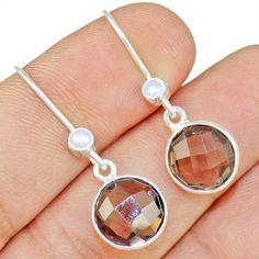Smoky Quartz & Pearl 925 Sterling Silver Earring Allison Co Jewelry E-1519 #Allisonsilverco