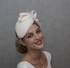 White bridal hat. White wedding hat. New design for AW 2020-2021. Wedding Fascinators, Wedding Hats, Green Fascinator, Ashley Smith, Bridal Hat, Gray Weddings, White Bridal, Navy Color, Black And Navy