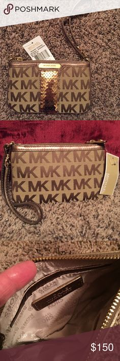 Michael Kors Wristlet - new with tags! Michael Kors Wristlet - new with tags! Sequin stripe color is bronze / gold - super cute wristlet! MICHAEL Michael Kors Bags Clutches & Wristlets