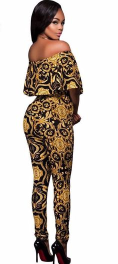 faff251344 New Ladies Black Yellow Tapestry Print Belted off shoulder Jumpsuit Stage  Dance