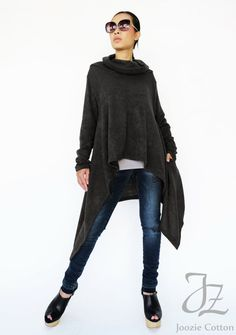 NO.189 Black Knitted Cowl Neck Long Sleeves Sweater Knit