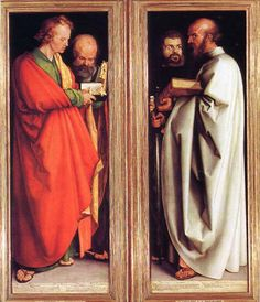 """Albrecht Dürer, Four Apostles, 1526. Oil on wood, each  7'1""""x2'6"""". Alte Pinakothek, Munich. He depicted John,Peter,Paul and Mark, they exemplify sanguine, phlegmatic, choleric & melancholic.The symmetrical composition and forward placement of John in the left and Paul in the right visually connect the two panels. The arms of the two men that hold their respective books align at the same level, each reinforcing the other. The men facing each other yet have different facial demeanors and…"""