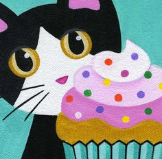 Tuxedo CAT and CUPCAKE with Pink Frosting (by thatsmyca)