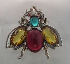Vintage Sterling Silver Trifari RED Cabochon Jelly Belly Body FLY BUG PIN Brooch | eBay