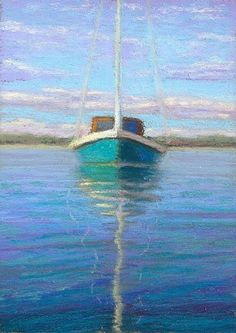 pastel painting: Miniature Cape Cod Sailboat Painting by Provincetown Artist Poucher