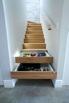Small space living: drawers under stairs