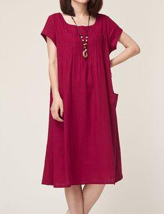 Wine red linen dress maxi dress short sleeve by originalstyleshop, $59.00
